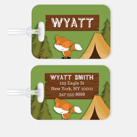Personalized Camping Luggage Tag, Kids Backpack Tag