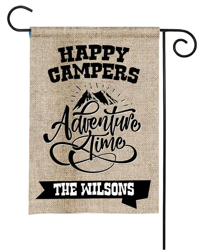 Personalized Camping Flag - Happy Campers - Adventure Time