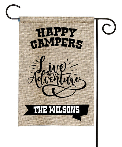 Personalized Camping Flag - Happy Campers - Live With Adventure