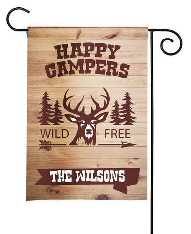 Personalized Camping Flag - Happy Campers - Rustic Deer