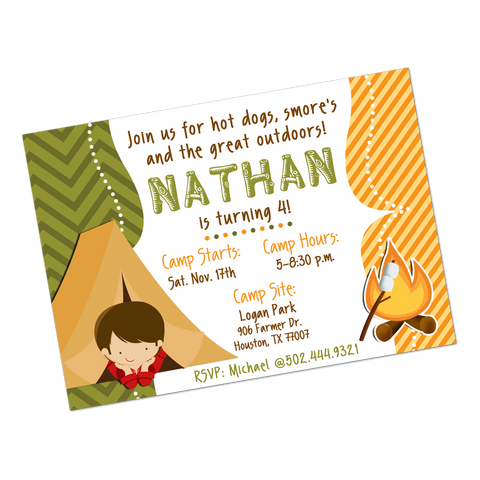 Camping Party Digital Birthday Invitation