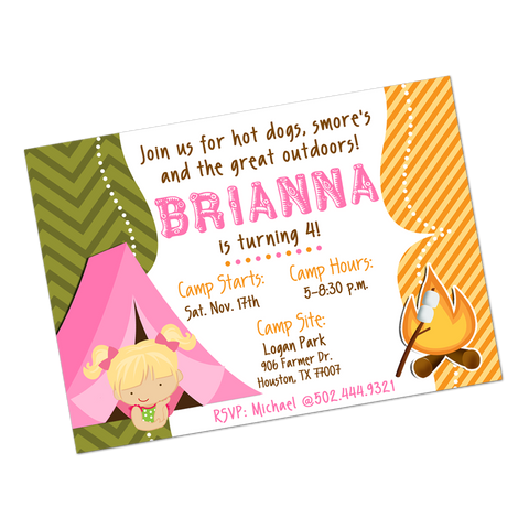 Girl Camping Digital Birthday Invitation