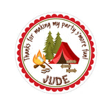 Red Camping Tent Personalized Sticker Birthday Stickers - INKtropolis