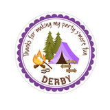 Purple Camping Tent Personalized Sticker Birthday Stickers - INKtropolis
