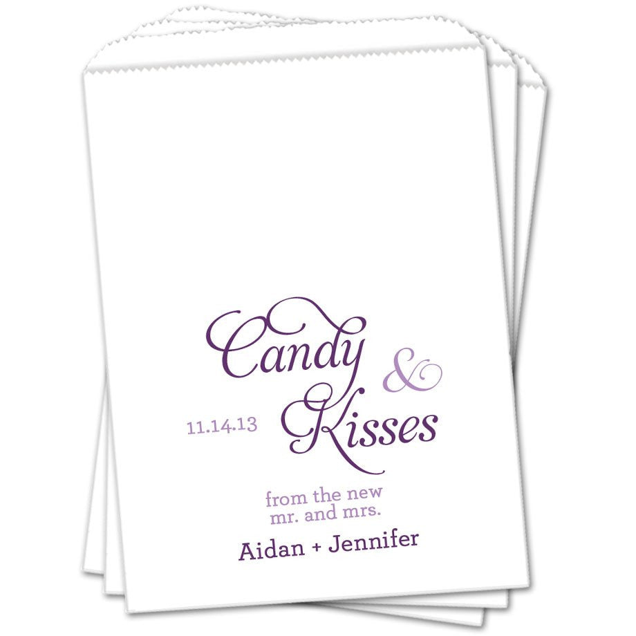 Candy And Kisses Wedding Favor Bags - Sets of 25 Wedding Favor Bags - INKtropolis