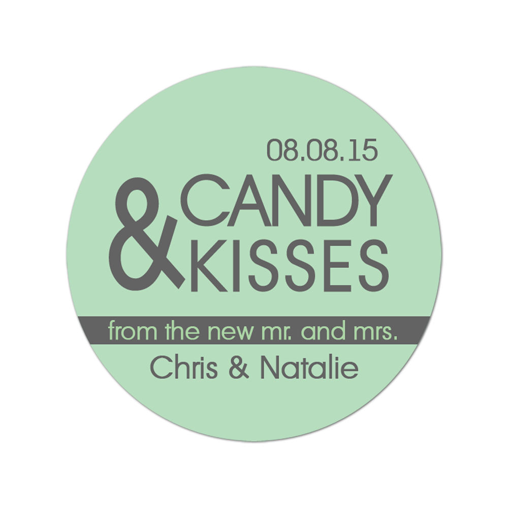 Candy and Kisses Personalized Sticker Wedding Stickers - INKtropolis