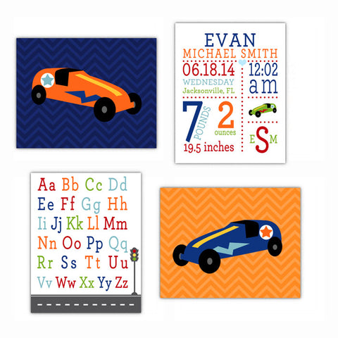 Car Transportation Nursery Wall Art, Kids Bedroom Decor Poster, Print, Framed or Canvas - Set of 4