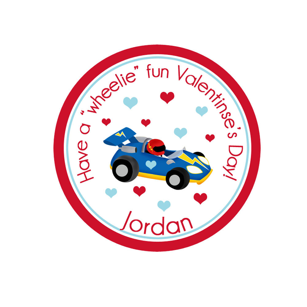 Race Car Valentines Day Personalized Sticker Valentines Day Stickers - INKtropolis