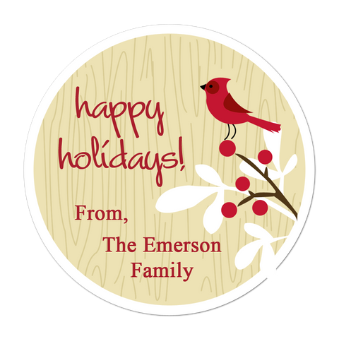 Cardinal Personalized Holiday Gift Sticker