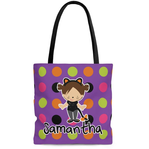 Personalized Halloween Trick Or Treat Bag, Kids Halloween Tote Bag - Cat Costume