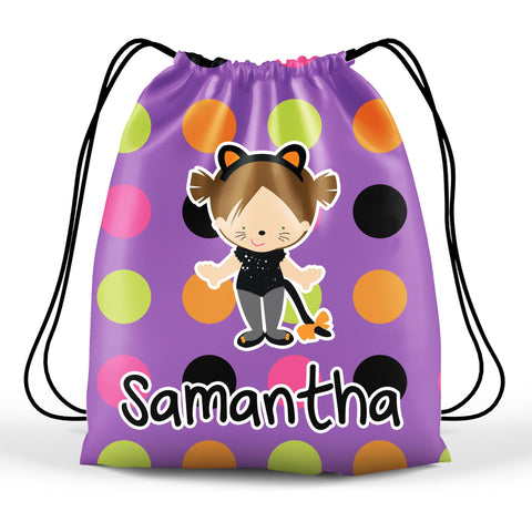 Personalized Halloween Trick Or Treat Bag, Kids Drawstring Bag - Cat Costume