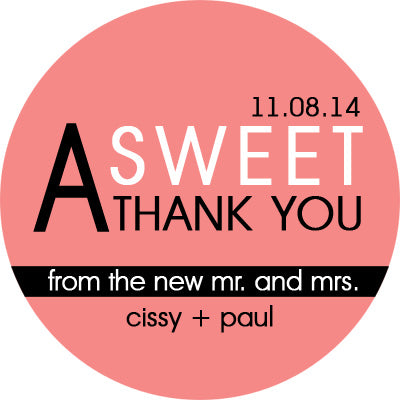 A Sweet Thank You Personalized Sticker Wedding Stickers - INKtropolis