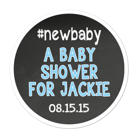 #Baby Shower Chalkboard Style Background Personalized Sticker