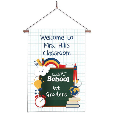 Personalized Classroom Flag - Teacher Flag - Classroom Decor - Graph Paper School Supplies