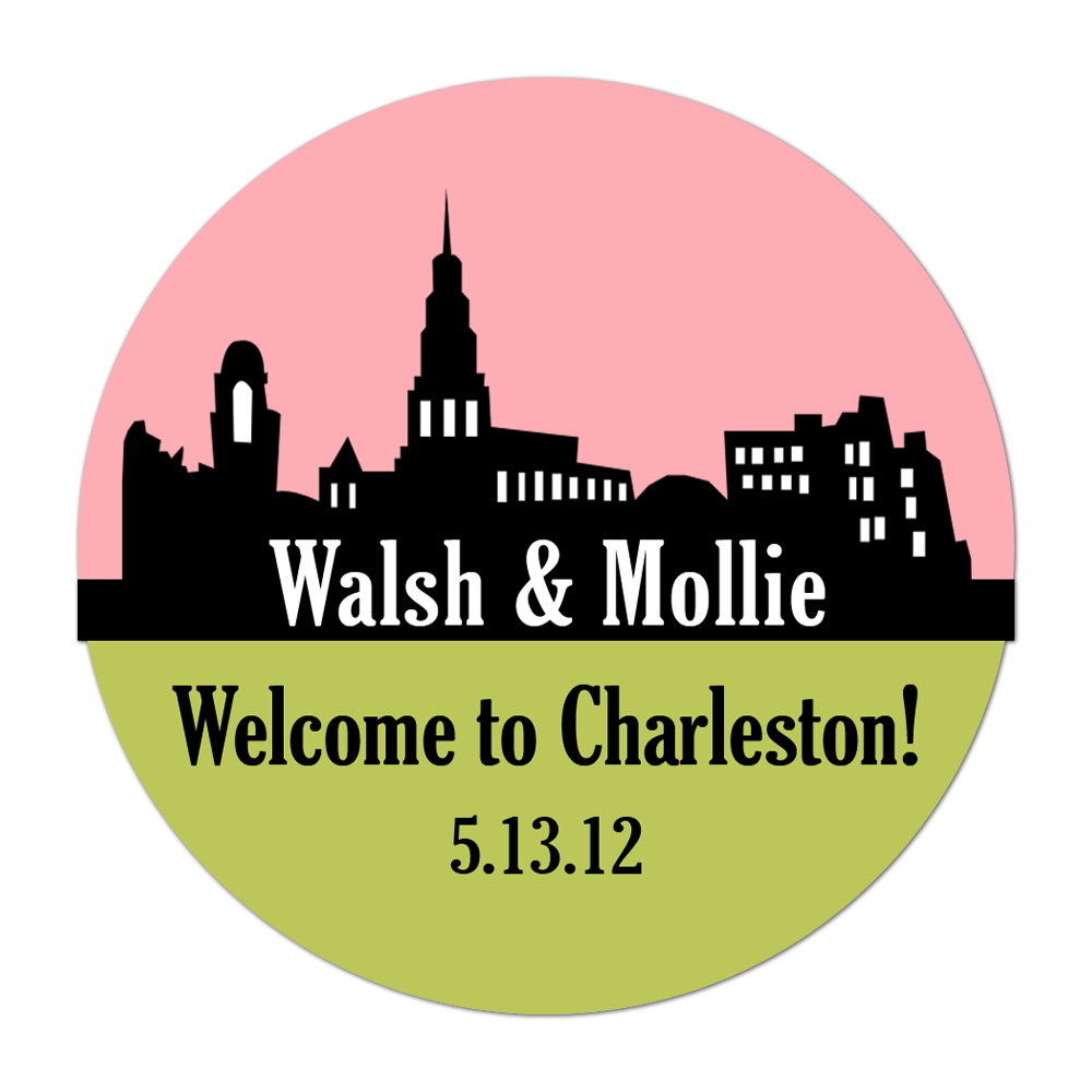 Charleston Skyline Personalized Sticker Wedding Stickers - INKtropolis