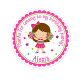 Brunette Cheerleader Personalized Sticker Birthday Stickers - INKtropolis