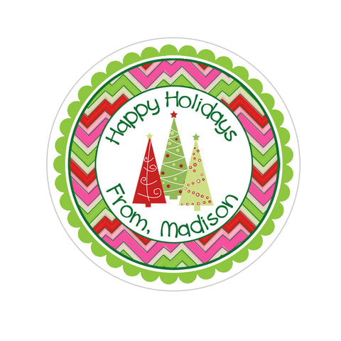 Trio Of Trees Wide Chevron Patterned Border Personalized Christmas Gift Sticker