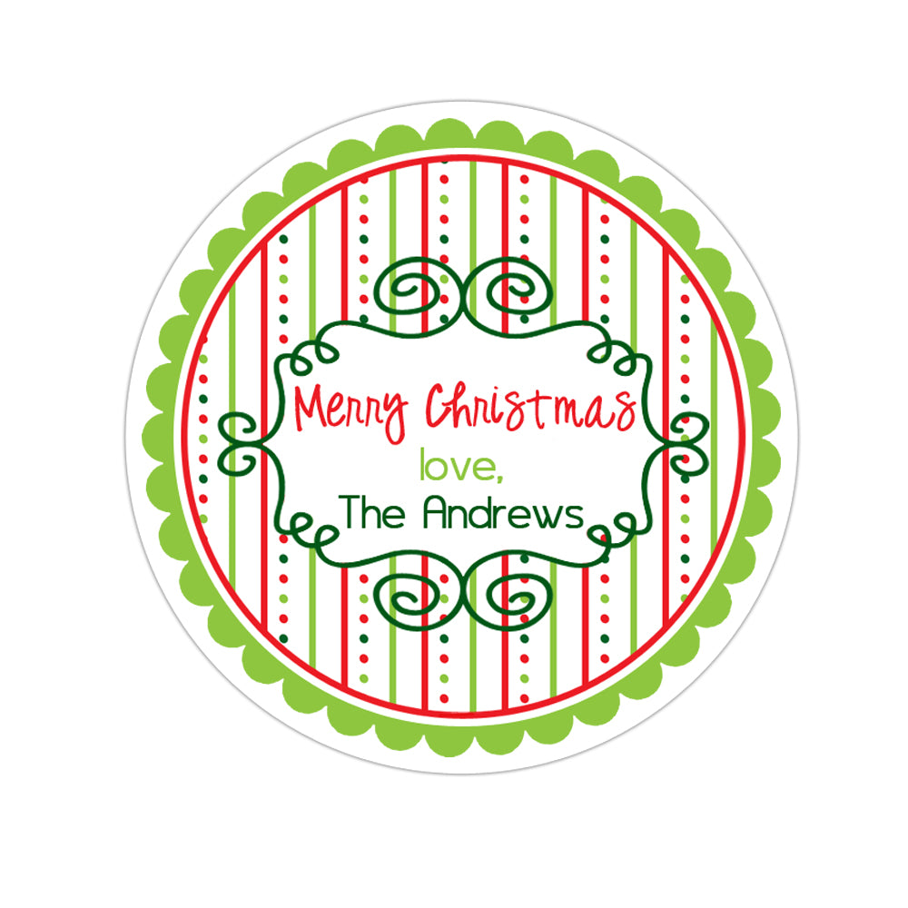 Whimsical Frame Wide Striped Patterned Border Personalized Sticker Christmas Stickers - INKtropolis