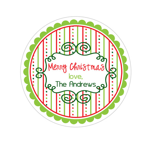 Whimsical Frame Wide Striped Patterned Border Personalized Holiday Gift Sticker