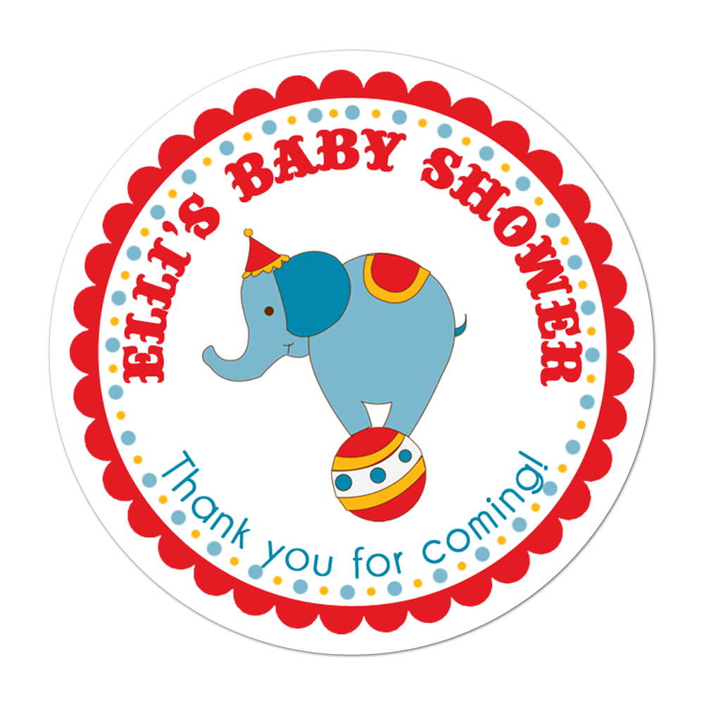 Circus Elephant Personalized Sticker Baby Shower Stickers - INKtropolis