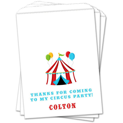 Circus Tent Personalized Birthday Favor Bags