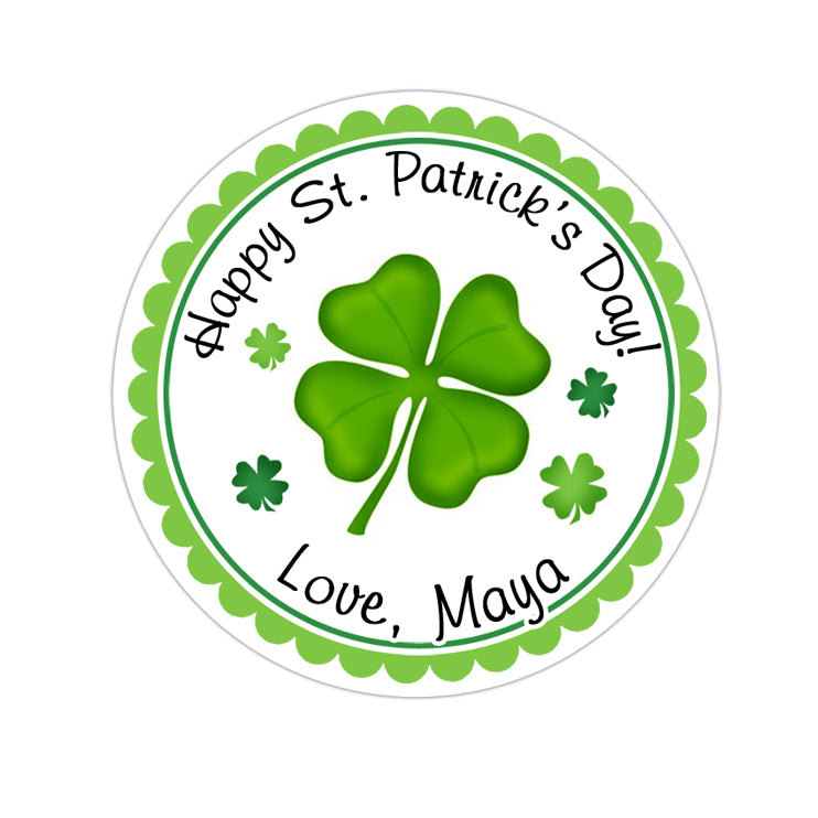 St Patricks Day Four Leaf Clover Personalized Sticker Other Holiday Stickers - INKtropolis
