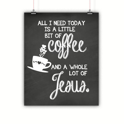Coffee and Jesus Kitchen Artwork, Poster, Print, Framed or Canvas - Chalkboard Style