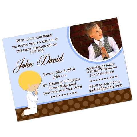 Blonde Boy Communion Digital Invitation