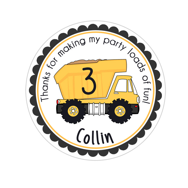 Construction Dump Truck Personalized Sticker Birthday Stickers - INKtropolis