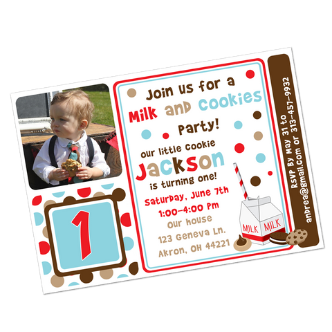 Milk and Cookies Digital Birthday Invitation