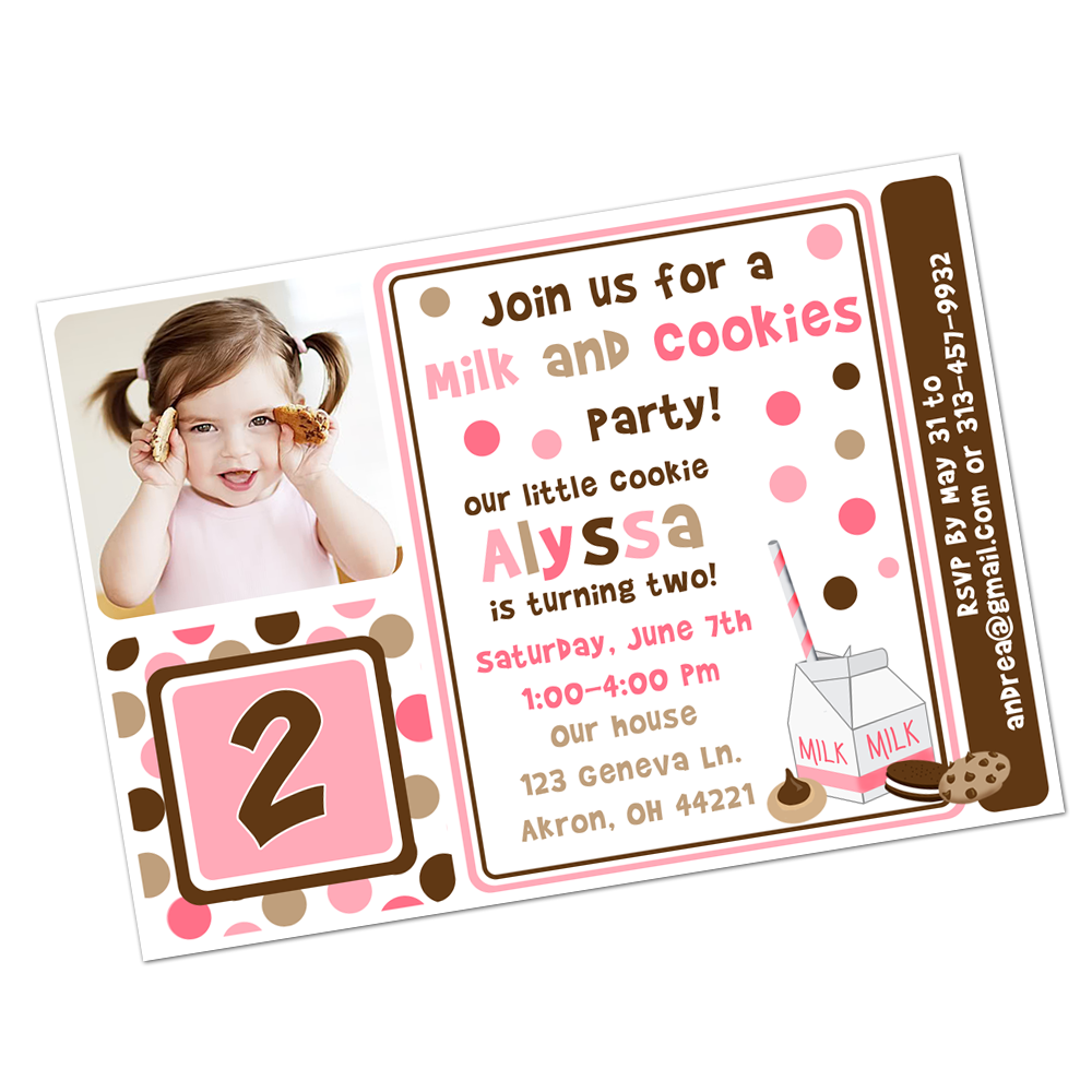 Pink & Brown Milk and Cookies Digital Invitation Digital Invitations - INKtropolis