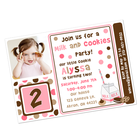 Pink & Brown Milk and Cookies Digital Birthday Invitation