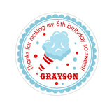 Blue Cotton Candy Personalized Sticker Birthday Stickers - INKtropolis