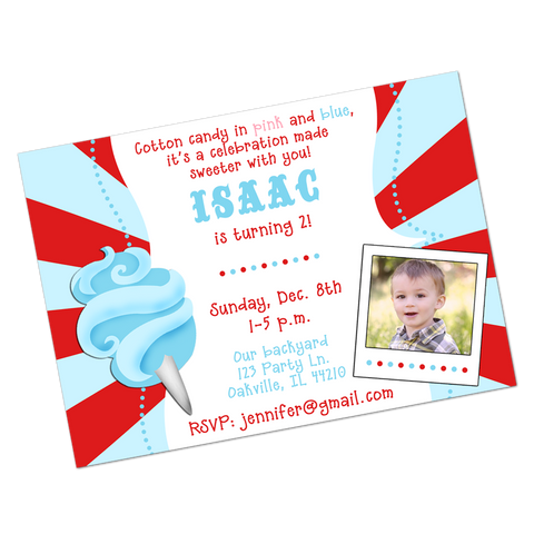 Blue Cotton Candy Digital Birthday Invitation