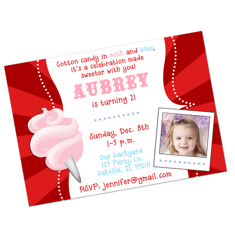 Pink Cotton Candy Digital Birthday Invitation