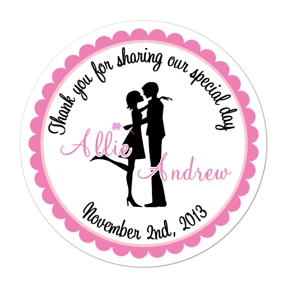 Couple Silhouette Personalized Sticker Wedding Stickers - INKtropolis
