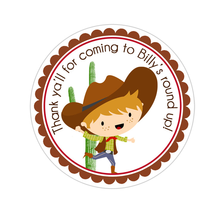 Cowboy Personalized Sticker Birthday Stickers - INKtropolis