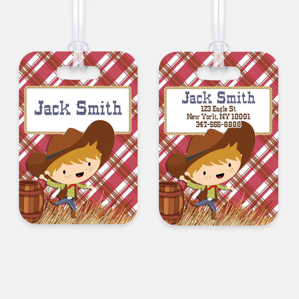 Personalized Cowboy Luggage Tag, Kids Backpack Tag