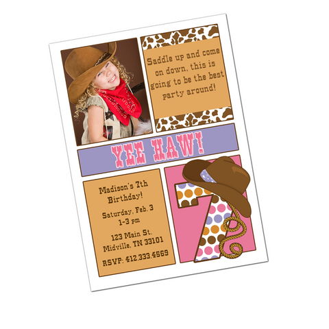 Cowgirl Digital Birthday Invitation