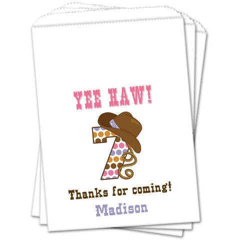 Cowgirl Age Birthday Favor Bags