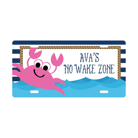 Personalized Pink Crab License Plate Sign - Kids Door Sign
