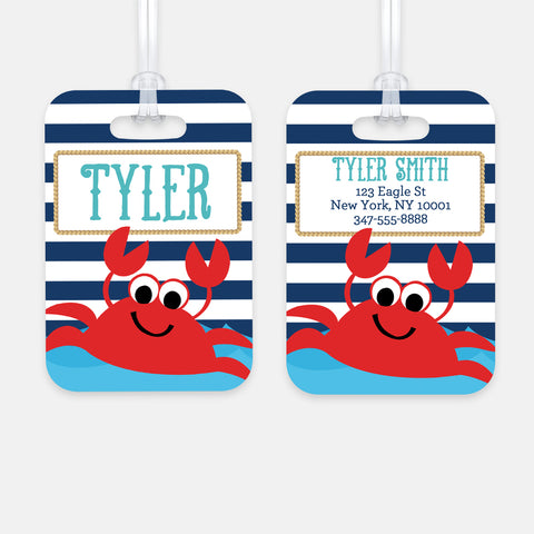 Personalized Crab Luggage Tag, Kids Backpack Tag