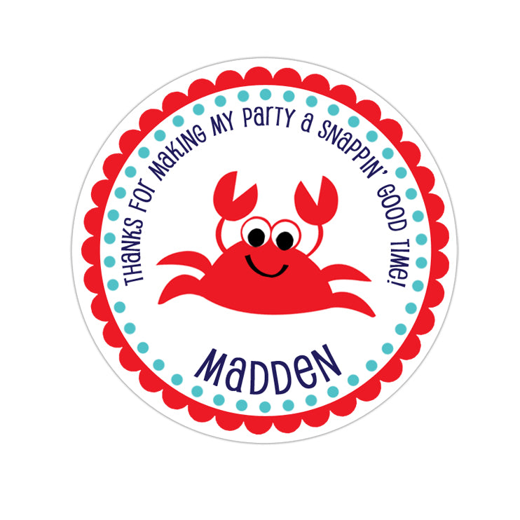 Red Crab Personalized Sticker Birthday Stickers - INKtropolis