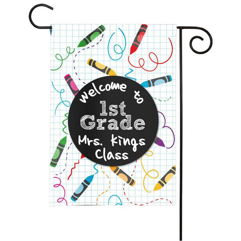Personalized Classroom Flag - Teacher Flag - Classroom Decor - Crayons