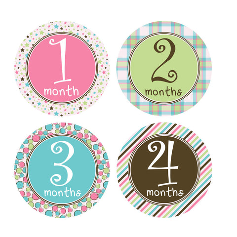 Pastel Colored Monthly Baby Stickers