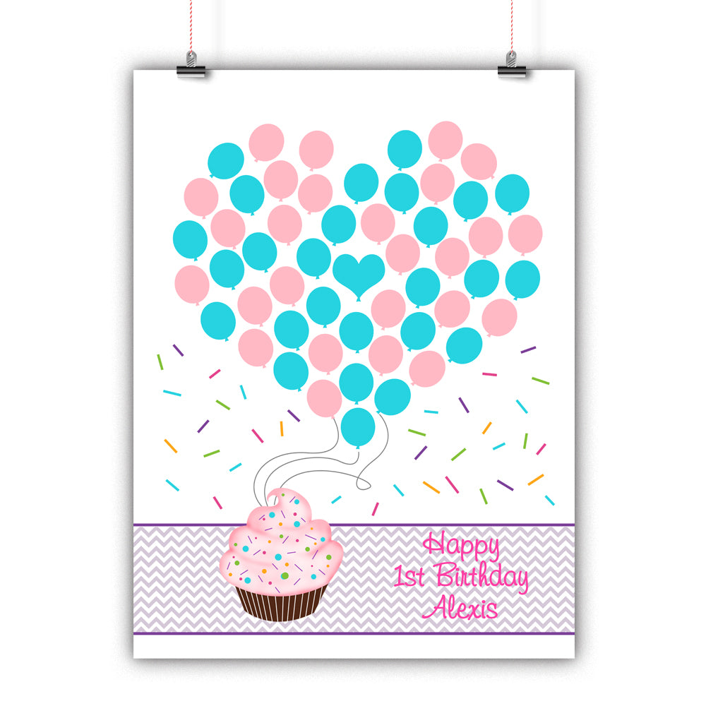personalized birthday guest book alternative cupcake balloons