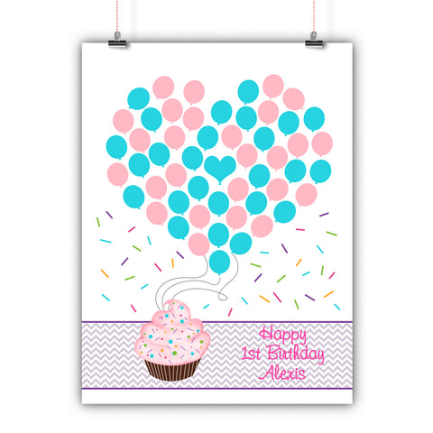 Personalized Birthday Guest Book Alternative - Cupcake Balloons - Customized Poster, Print, Framed or Canvas, 50 Signatures