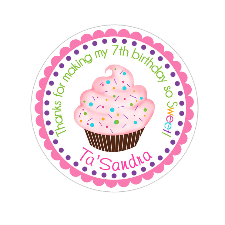 Colorful Cupcake Personalized Sticker Birthday Stickers - INKtropolis