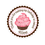 Pink and Chocolate Cupcake Personalized Sticker Birthday Stickers - INKtropolis