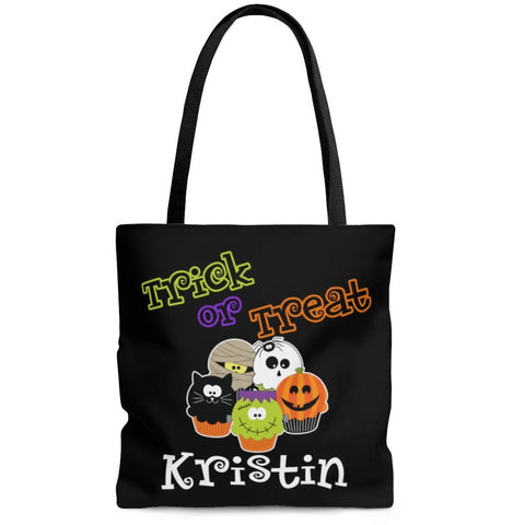 Personalized Halloween Trick Or Treat Bag, Kids Halloween Tote Bag - Spooky Cupcakes
